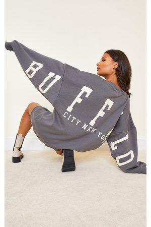 PRETTYLITTLETHING Charcoal Buffalo New York Slogan Sweat Sweater Dress