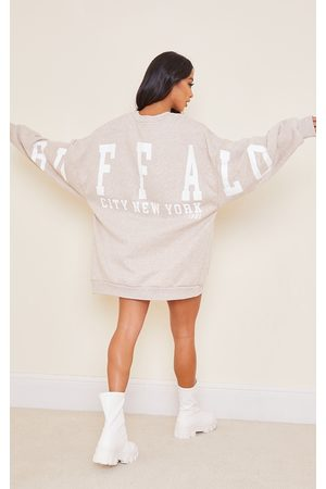 PRETTYLITTLETHING Petite Oatmeal Buffalo New York Slogan Sweater Dress