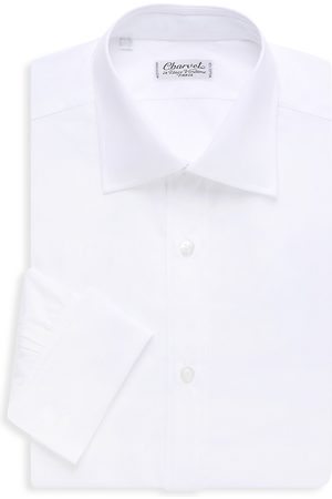 Charvet Men's Solid Poplin Dress Shirt - - Size 17.5 R