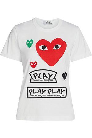 Comme des Garçons Women's Large Heart Play T-Shirt - - Size XS