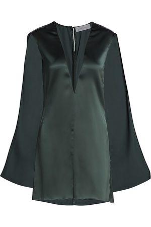 Marina Moscone Women's Sheer Inlay Satin Cape Top - - Size 2