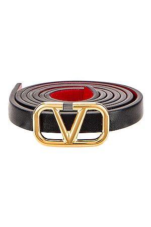 VALENTINO GARAVANI Garavani Vlogo Skinny Leather Belt in