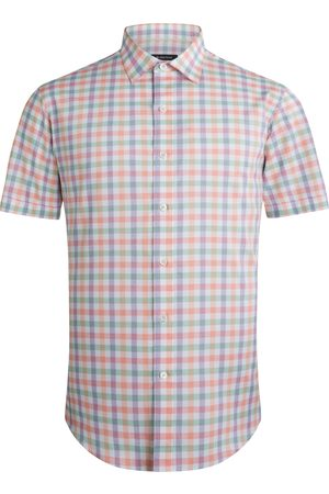 Bugatchi Men's Shaped Fit Check Short Sleeve Button-Up Performance Shirt