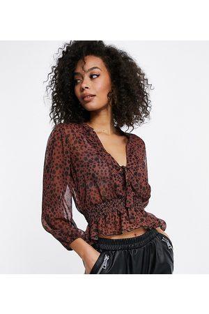 ASOS ASOS DESIGN Tall sheer long sleeve top with shirred waist in splotch print-Multi