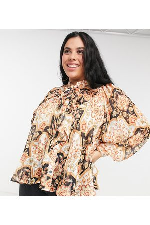Simply Be Pussybow blouse with pleat detail in multi