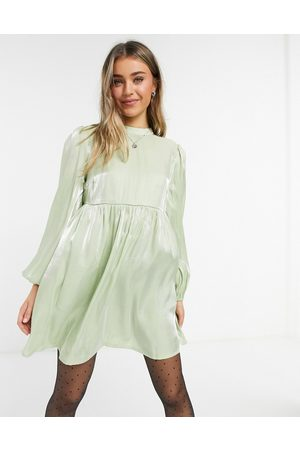 Lola May Smock dress with volume sleeves in sage