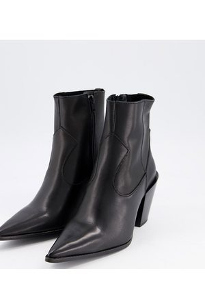 DEPP Wide fit pointed western boots in leather