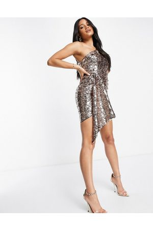 Jaded Rose One shoulder drape sequin mini dress in rose
