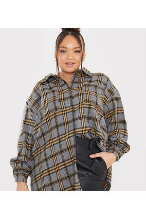 In The Style X Megan Mckenna oversized plaid shirt in gray multi