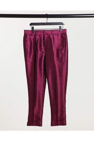 ASOS Tapered smart pant in sateen with turn-up cuff