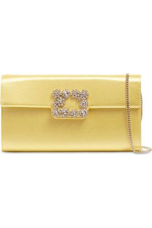 Roger Vivier Women Clutches - Crystal Buckle Satin Envelope Clutch