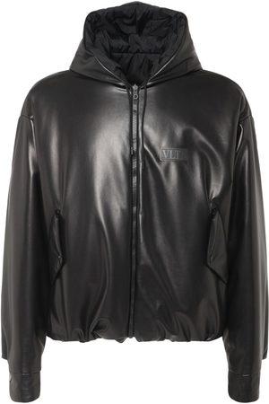 VALENTINO Reversible Logo Leather Jacket W/ Hood