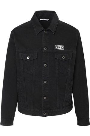VALENTINO Men Denim Jackets - Vltn Patch Cotton Denim Jacket