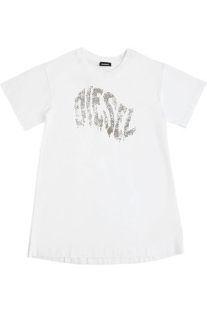 Diesel Glittered Logo Cotton Jersey Dress
