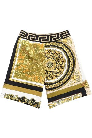 VERSACE Boys Shorts - Baroque Print Cotton Sweat Shorts