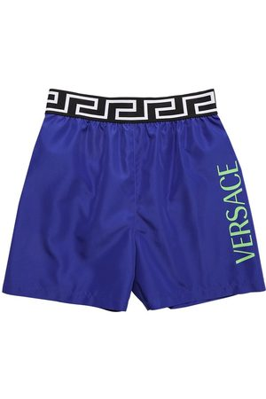 VERSACE Logo Print Nylon Swim Shorts