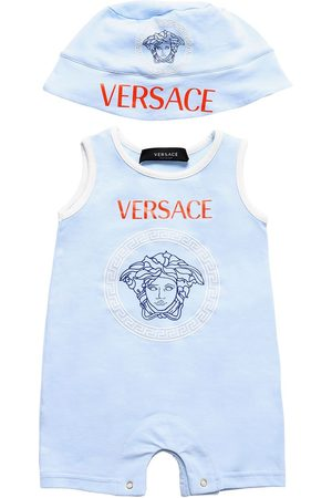 VERSACE Printed Cotton Jersey Romper & Hat
