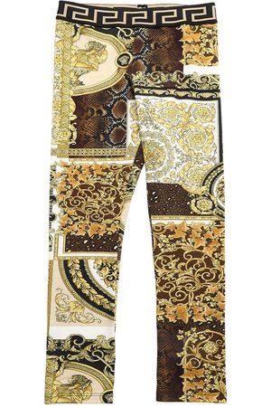 VERSACE Baroque Print Cotton Jersey Leggings