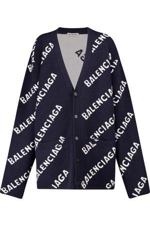 Balenciaga Logo-intarsia stretch-wool cardigan