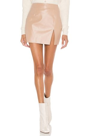 superdown Trinity Faux Leather Skirt in Beige.
