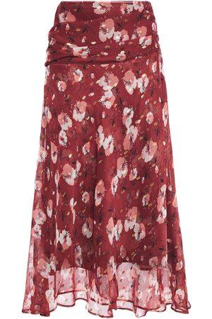 Walter Baker Woman Ruched Floral-print Chiffon Midi Skirt Brick Size 0