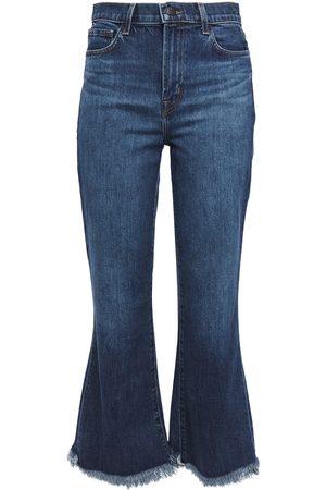 J Brand Woman Julia Frayed Faded High-rise Flared Jeans Dark Denim Size 25