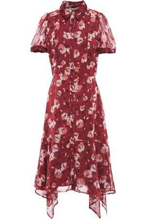 Walter Baker Women Asymmetrical Dresses - Woman Asymmetric Metallic Fil Coupé Midi Shirt Dress Brick Size L