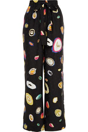 Diane von Furstenberg Woman Denise Printed Silk-blend Floral-jacquard Wide-leg Pants Size L