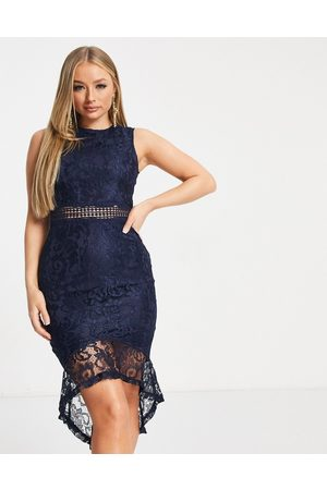 Ax Paris Women Midi Dresses - Lace peplum hem midi dress in navy