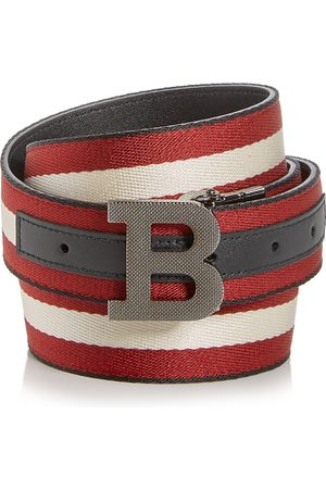 Bally Men's Logo Buckle Webbing Stripe Belt