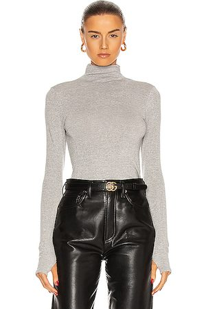 ENZA COSTA Lurex Rib Long Sleeve Fitted Turtleneck Top in ,Metallic