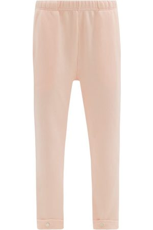 Les Tien Snap-front Brushed-back Cotton Track Pants - Womens - Light