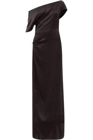 Art School Women Strapless Dresses - Off-the-shoulder Gathered Silk-satin Dress - Womens