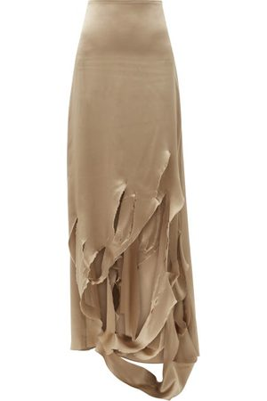ART SCHOOL Distressed-slit Silk-charmeuse Skirt - Womens - Khaki