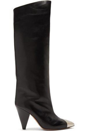 Isabel Marant Women Thigh High Boots - Lelize Metallic-toecap Leather Knee-high Boots - Womens