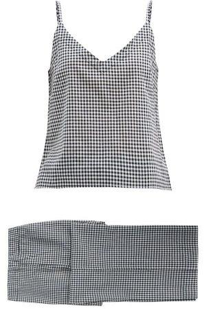 General Sleep Paloma Gingham Organic-cotton Pyjamas - Womens - Navy Print