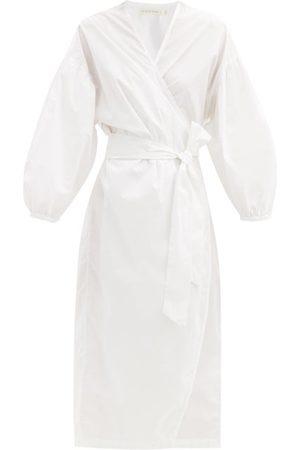 General Sleep Agnes Wrap-front Cotton-poplin Nightdress - Womens