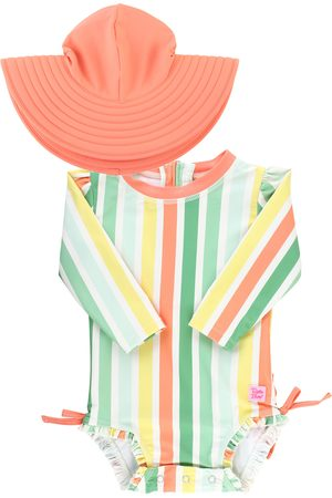 RuffleButts Infant Girl's Saltwater Stripe One-Piece Rashguard Swimsuit & Hat Set