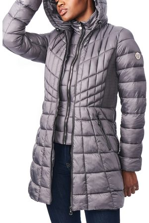 Bernardo Women's Packable Hooded Primaloft Fill Coat With Contrast Inset Bib