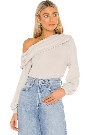 MAJORELLE Draped Top in Taupe.