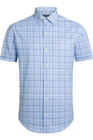 Bugatchi Men's Shaped Fit Plaid Short Sleeve Button-Up Performance Shirt