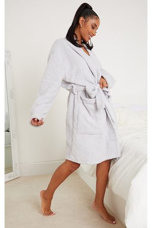 PRETTYLITTLETHING Grey Oversized Fluffy Dressing Gown