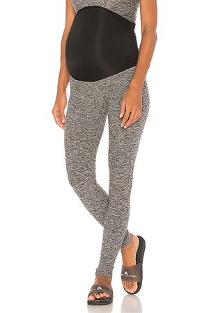 Beyond Yoga Spacedye Love the Bump Midi Maternity Legging in Grey.