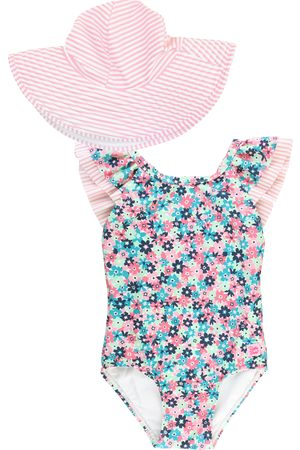 RuffleButts Infant Girl's Water Lilies One-Piece Swimsuit & Hat Set