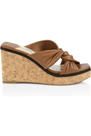 Jimmy Choo Women's Narisa Leather Platform Wedge Mules - - Size 40 (10)