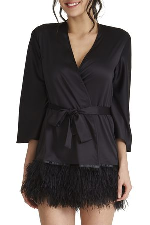 Rya Collection Plus Size Women's Swan Charmeuse & Ostrich Feather Wrap