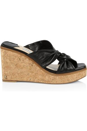 Jimmy Choo Women's Narisa Leather Platform Wedge Mules - - Size 42 (12)