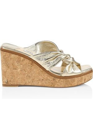 Jimmy Choo Women's Narisa Metallic Leather Platform Wedge Mules - - Size 40.5 (10.5)