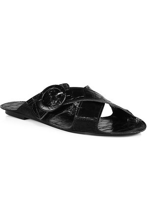 DEFINERY Women Sandals - Women's Loop Cross Croc-Embossed Leather Flat Sandals - - Size 35 (5)