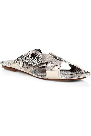 DEFINERY Women's Loop Cross Snakeskin-Embossed Leather Flat Sandals - - Size 38 (8)